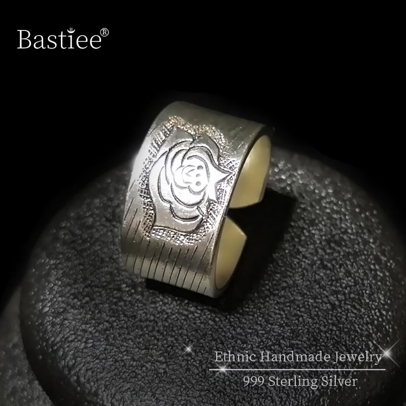 Pivoine fleur 999 en argent Sterling anneaux pour femmes bohème Vintage anneau réglable à la main de luxe bijoux ethnique Miao argent