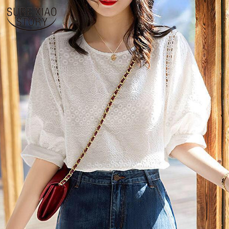 2021 Summer New Korean Fashion Women's Lantern Sleeve Loose Shirts Embroidery Cotton Lace O-neck Casual Blouses Plus Size 13440 1