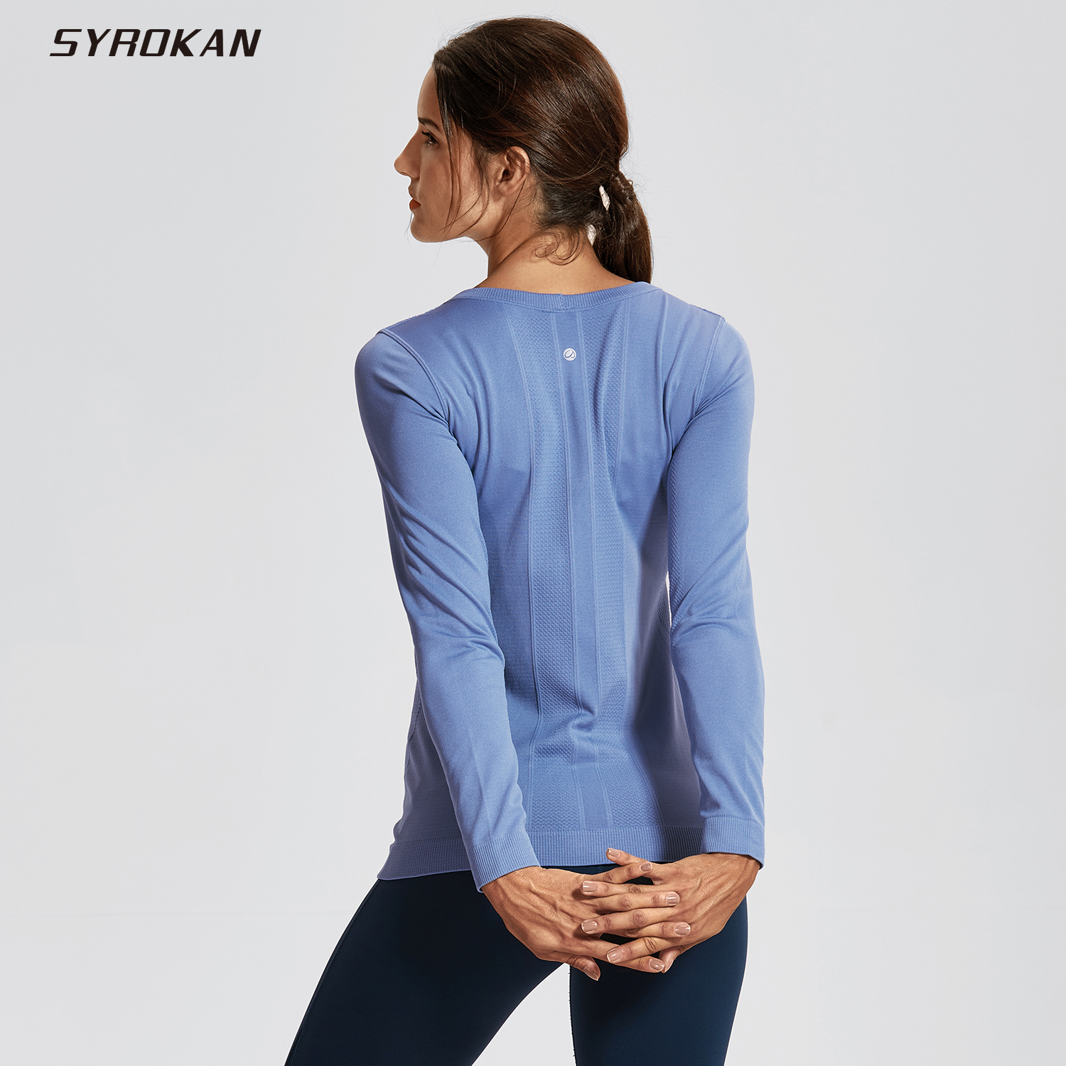 SYROKAN Women's Seamless Active Long Sleeve Workout Running Sports Leisure T-shirt
