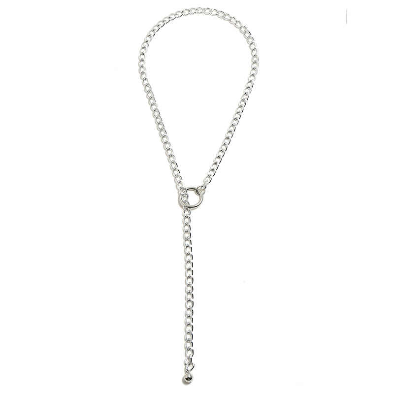 DIEZI Hip Hop Gold Silver Simple Geometric Clavicle Chain Link Necklace for Women Men Beach Party Jewelry Punk Vintage Necklaces