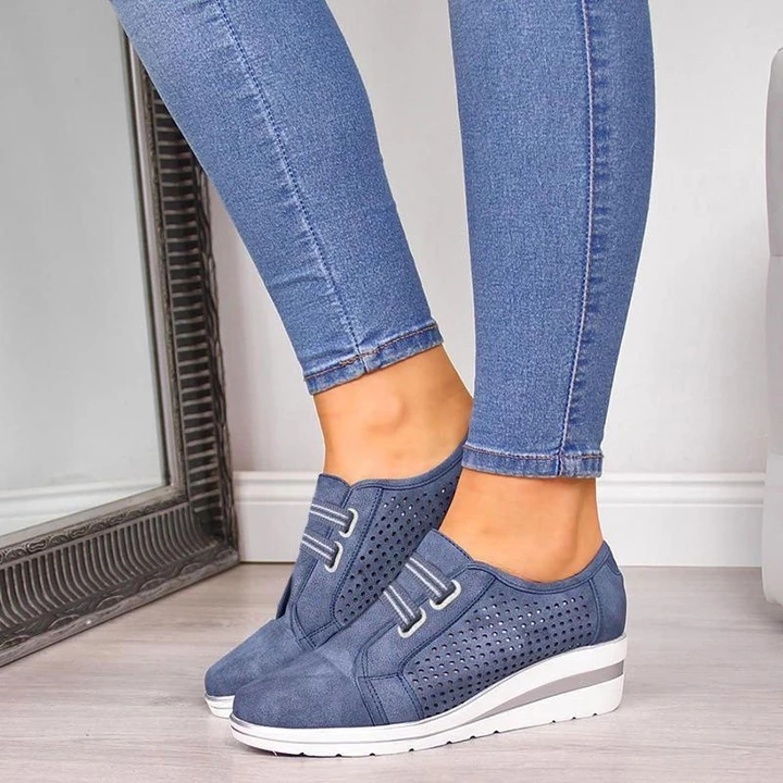 2019 Flock New High Heel Lady Casual Women Sneakers Leisure Platform Shoes Breathable Height Increasing Shoes Women Flats
