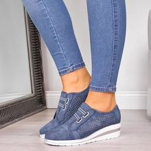 Buy 2019 Flock New High Heel Lady Casual Women Sneakers Leisure Platform Shoes Breathable Height Increasing Shoes Women Flats directly from merchant!