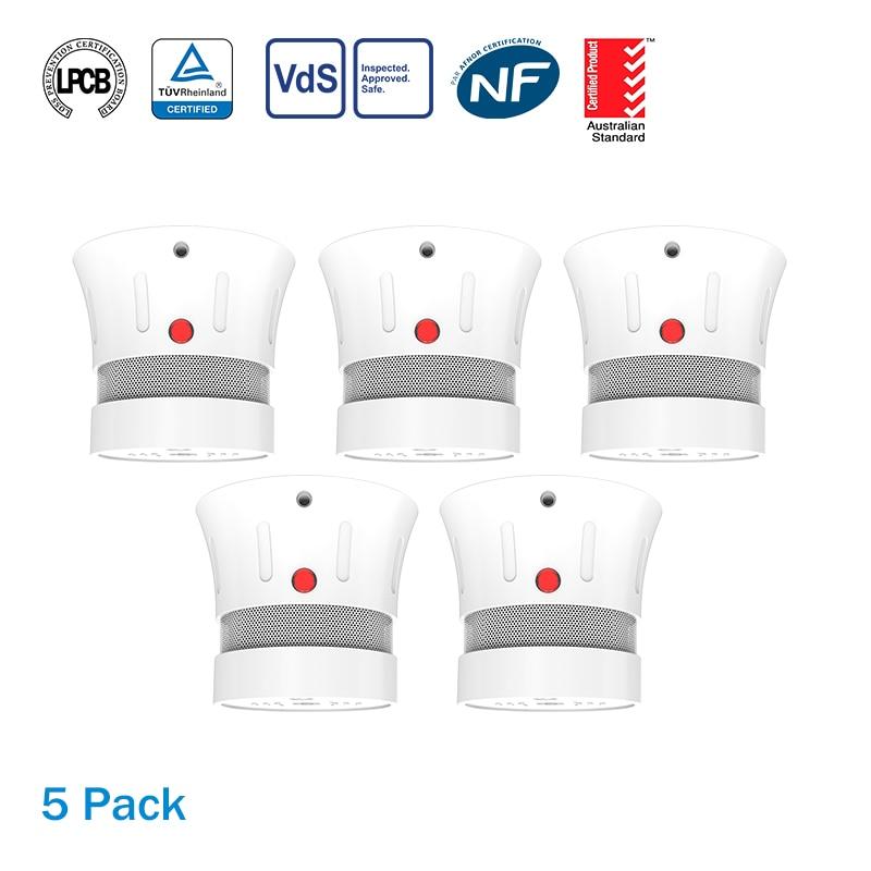 CPVan 5pcs/Lot Mini Fire Detector Smoke Detector Alarm Detector 5 Years Battery EN14604 Listed Smoke Sensor For Home Security