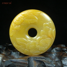 CYNSFJA Real Rare Certified Natural Xinjiang Golden Imperial Jade Lucky Wealthy Peony Peace Buckle Jade Pendant Amulet Hand Carved Fine Jewelry Best Gifts
