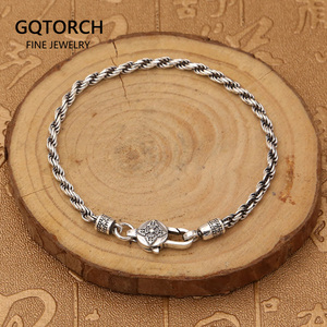 Image 1 - Real 925 Sterling Silver Braided Rope Chain Bracelets Tibetan Buddhism Mantra Six Words And Vajra Engraved Prayer Jewelry