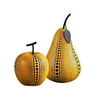 Yayoi Kusama amarillo negro Punto de onda pera manzana simulación de fruta decoración de resina casa abstracción decoración regalo de Halloween