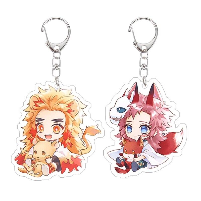 4 pcs Anime Demon Slayer Kimetsu no Yaiba keychain Kamado Tanjirou Nezuko Agatsuma Zenitsu Rengoku Kyoujurou cute fun Acrylic key ring