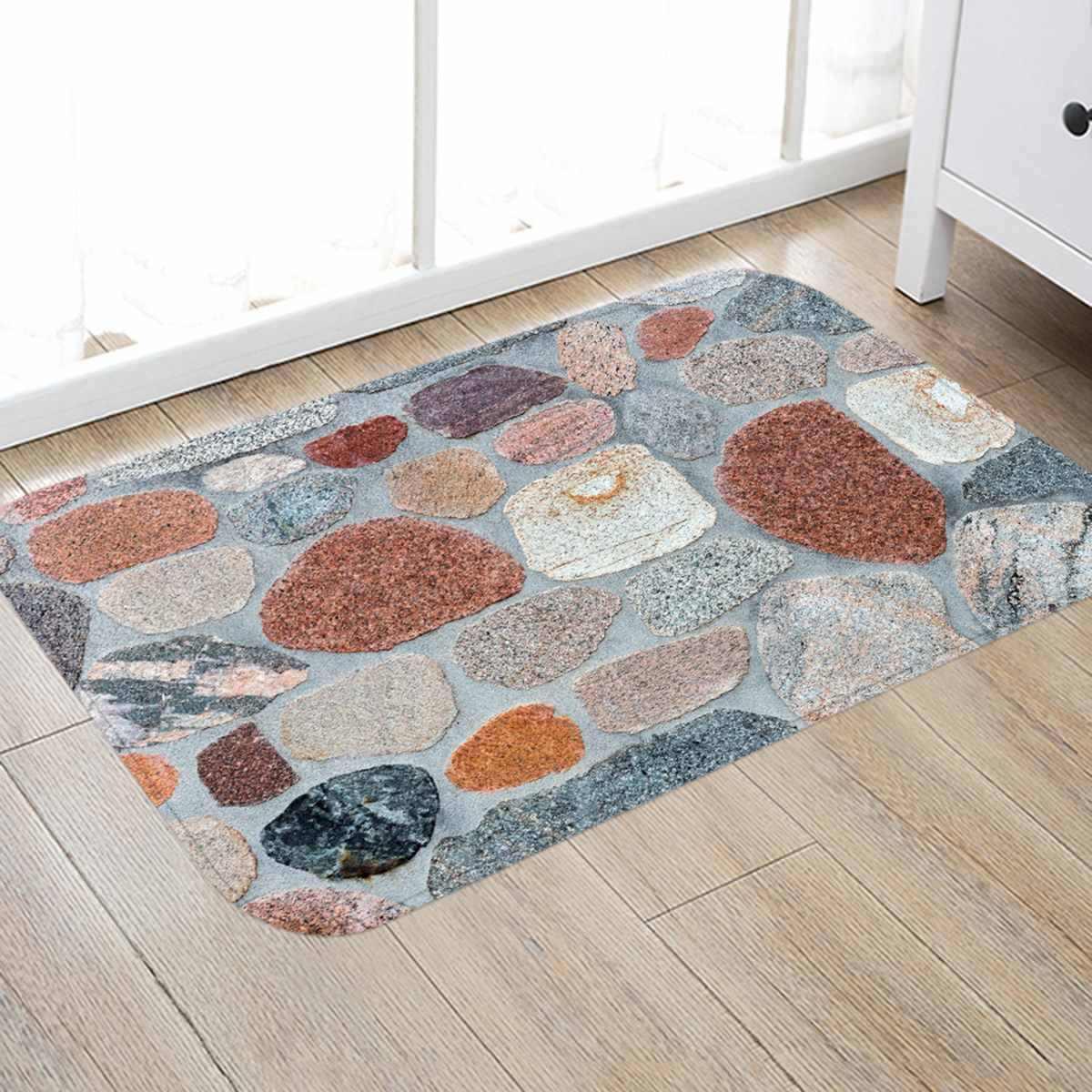 Non-slip Cobblestone หินรูปแบบประตู Mat Antislip ห้องโถงพรมเช็ดเท้าพรมครัวพรมสำหรับห้องนอน Corridor