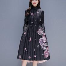 Down Cotton Padded Parka Feminina Elegant Long Coat Female Clothes Retro Print W