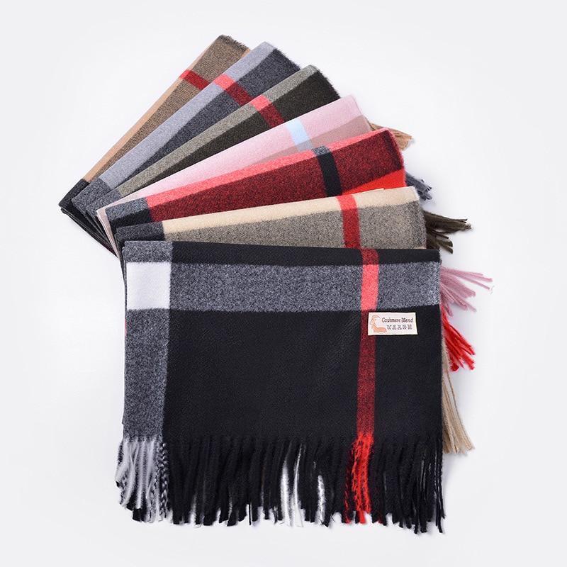 70*200CM Plaid Winter Cashmere Scarf Women Neck Head Scarves Fashion Casual Bandana Pashmina Scarfs Long Tassel Ladies Shawls