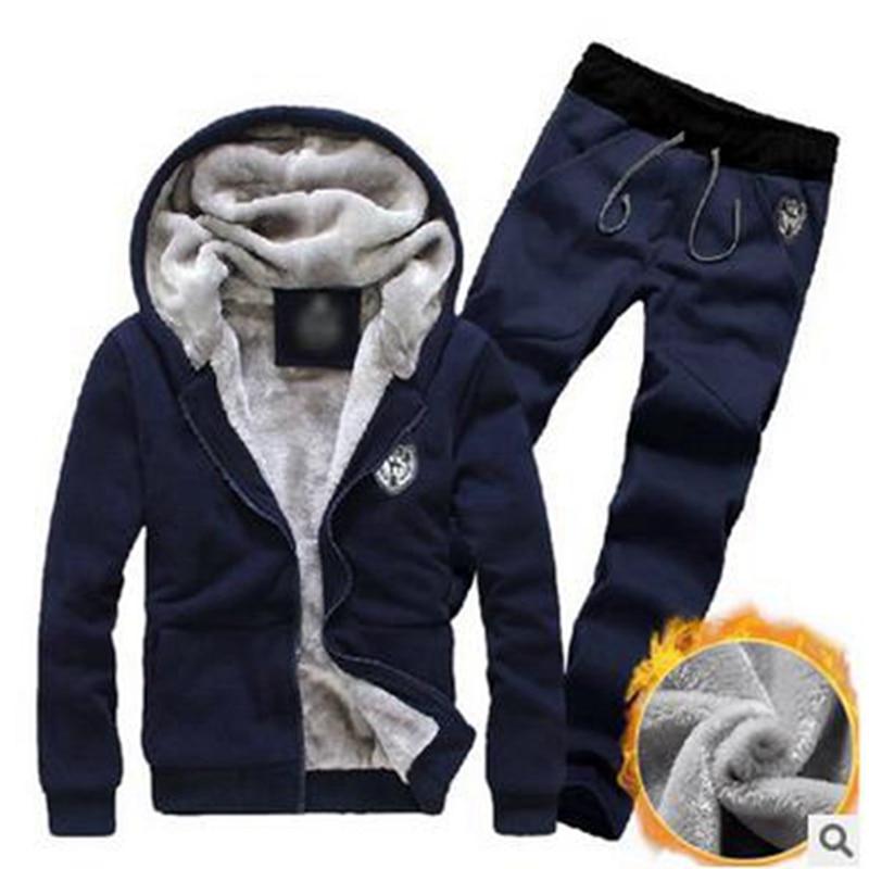 Laamei Tracksuit Men Sport Fleece Thick Hooded Brand Clothing Casual Track Suit Men Jacket+Pant Warm Men Set Winter Sweatshirt
