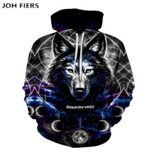 все цены на JOH FIERS 2019 Funny Wolf Hoodies Men 3D Sweatshirt Harajuku Hoody Anime Tracksuit 3D Print Coat Casual Jacket Hooded Pullover