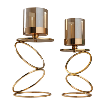Gold Metal Candle Holders Wedding Decorations Modern Candle Holders Gold Centerpiece Photophore Verre Glass Candlestick zt035 1