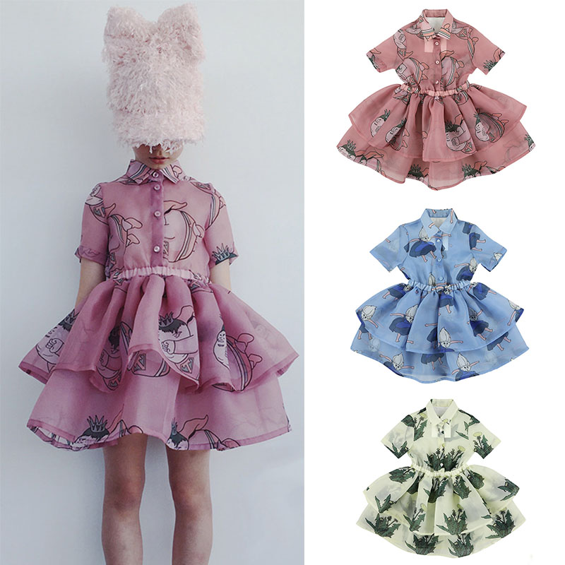 Carbon Soldier Kids Girls Summer Tutu Dress Children Personality Design Dress Shirt Collar Flower Yarn Tutu Layed Dress Brand