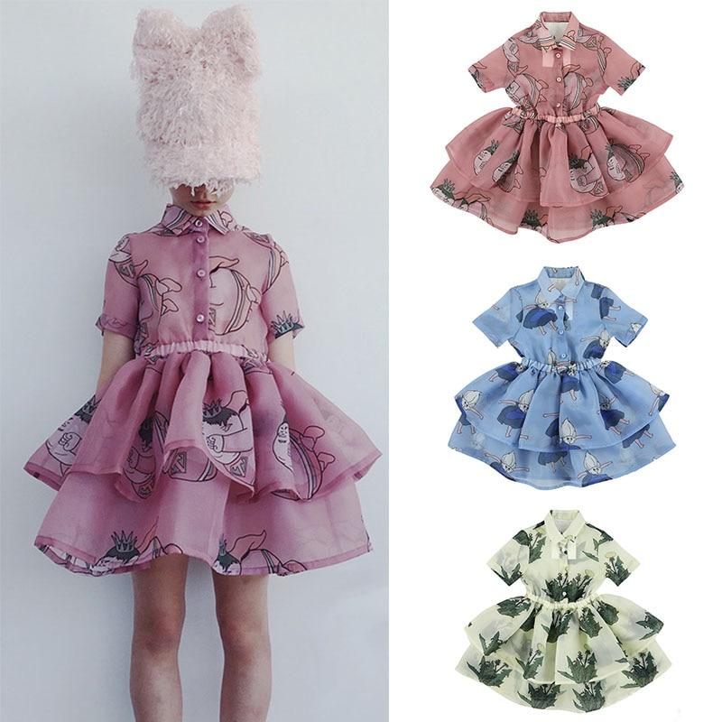 Carbon Soldier Kids Girls Summer Tutu Dress Children Personality Design Dress Shirt Collar Flower Yarn Tutu Layed Dress Brand