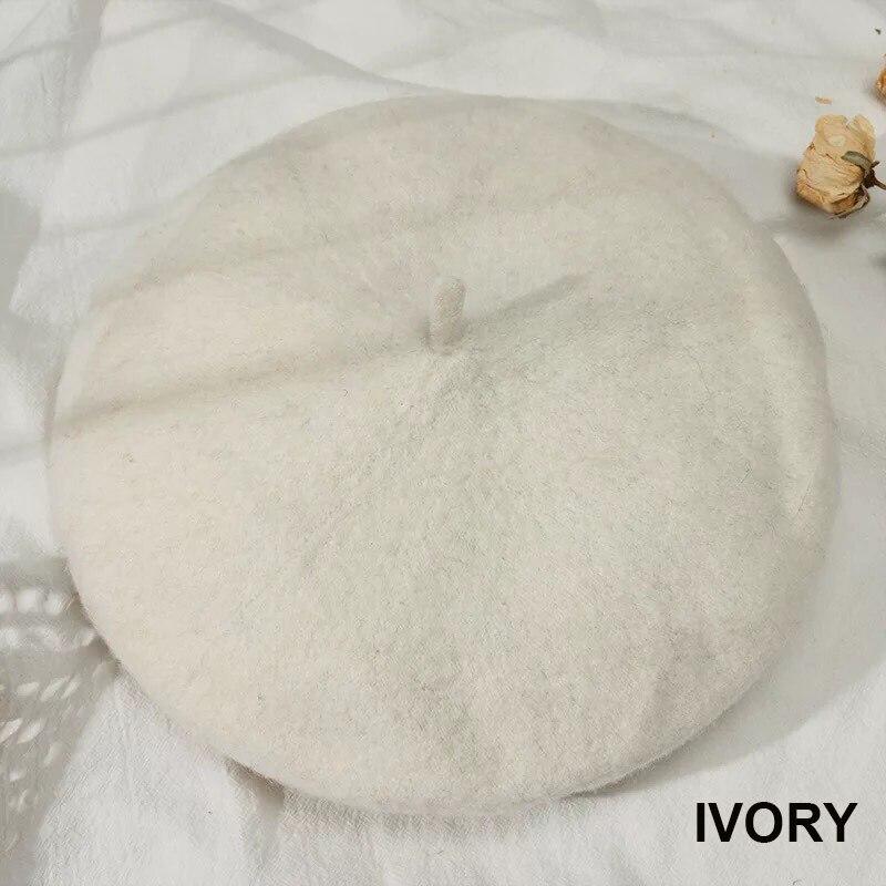 Французский стиль, однотонная Повседневная винтажная женская шапка, берет, простая шапка, для девушек, шерсть, Теплые Зимние береты, шапки бини, Femme Aldult cap s - Цвет: Ivory