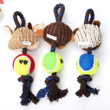 Chewing dog toy Animal Shaped Cotton Ropes Tennis Ball Dog Toys Pet Funny Playing Interactive Chew Sound vocal