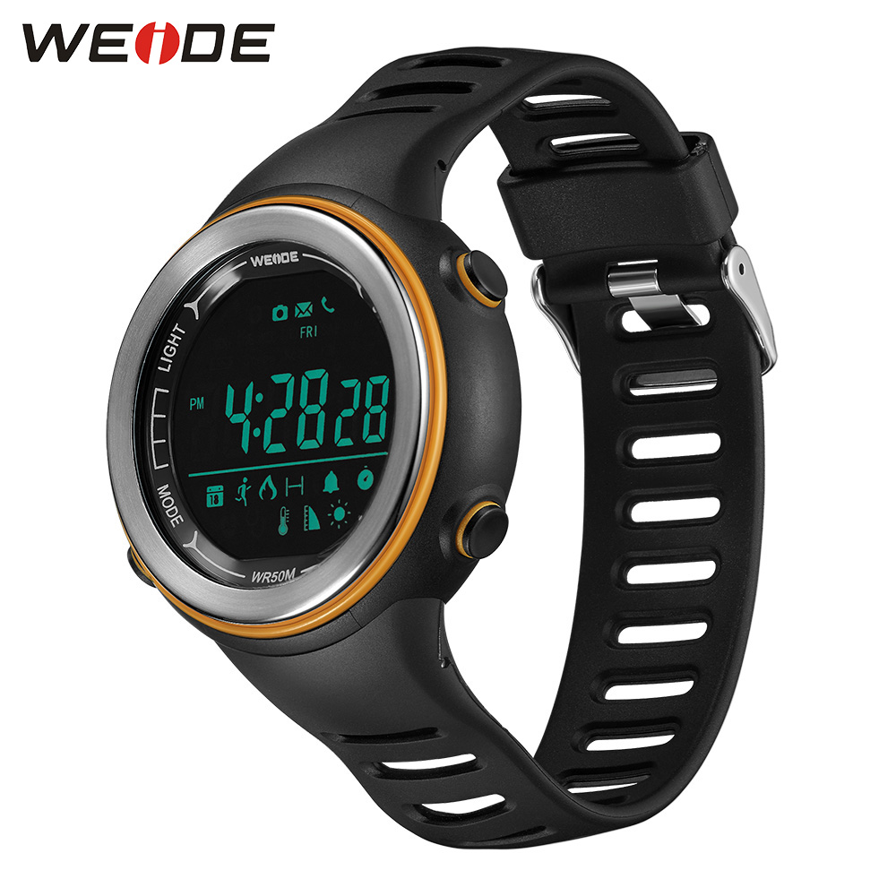 WEIDE Bluetooth Men Watches Multifunction Silicone Strap Watch 5ATM Waterproof for IOS Iphone Android Phone Relogio Masculino