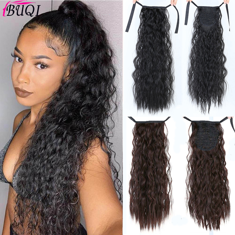 BUQI Long Afro Curly Drawstring Ponytail Heat Resistant Synthetic Hairpiece Pony Tail Hair Piece For Women Fake Hair Extension