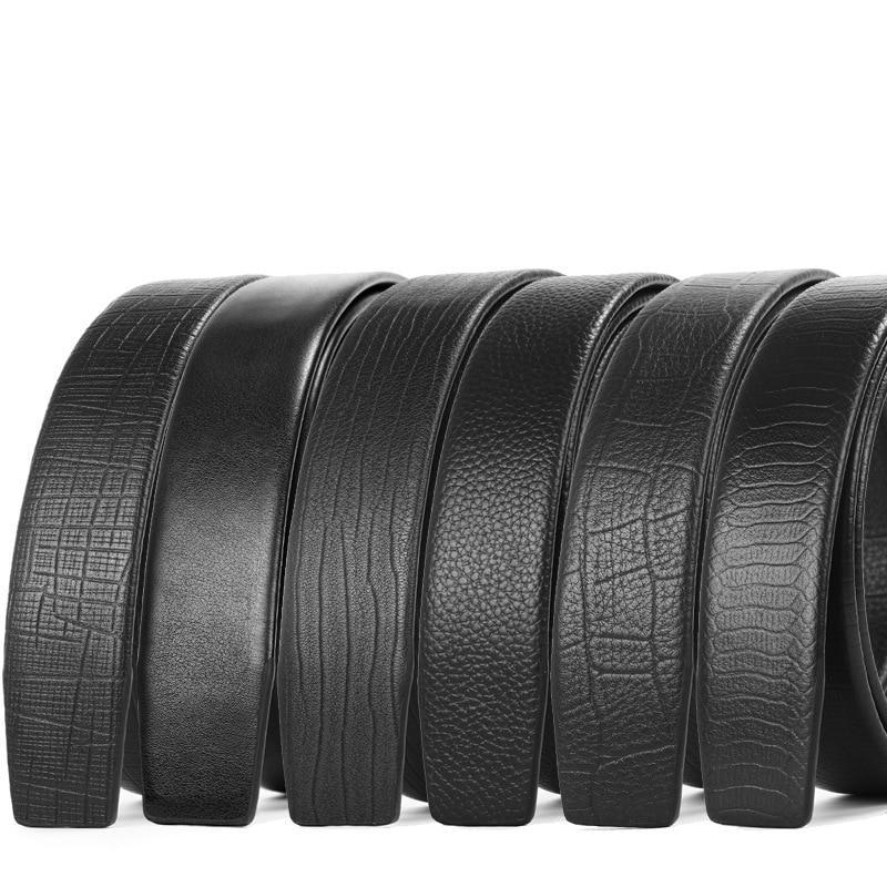 New Luxury No Buckle Belt Brand Belt Men High Quality Male Genuine Real Leather Strap ForJeans Men's Belt Cinturones Hombre 3.5