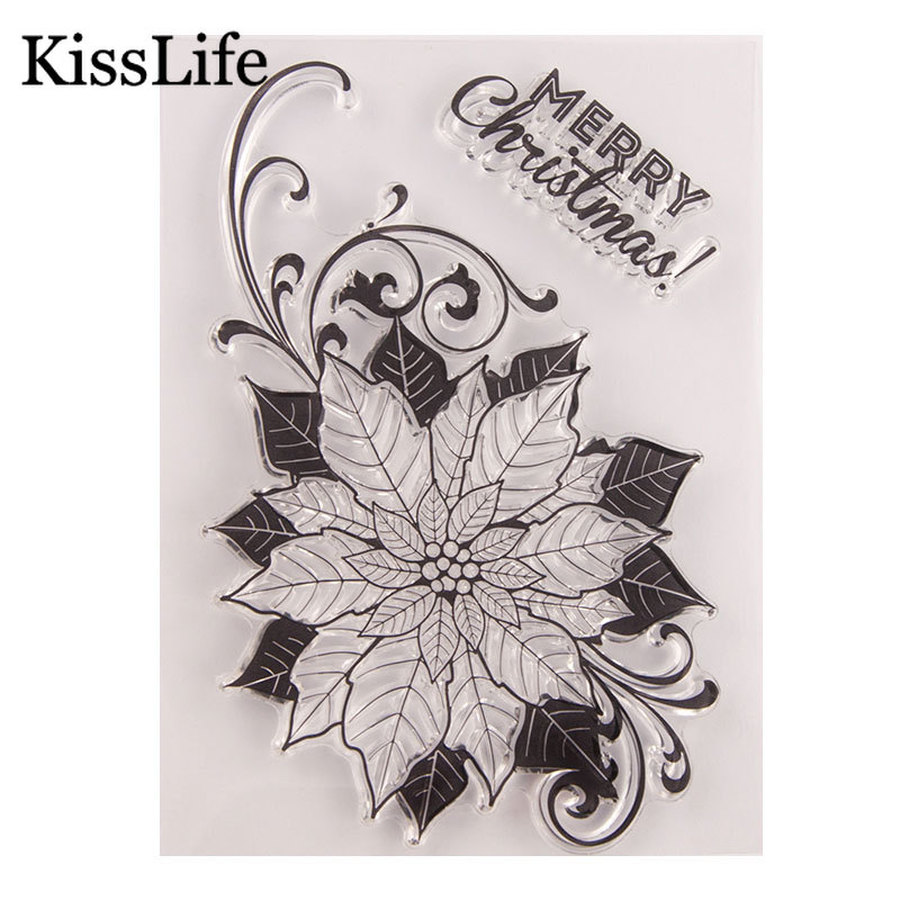 5.9 by 5.9 Inches Daisy Flower Leave Letters Stamps Clear Rubber Stamps for Scrapbooking Card Making Christmas Clear Stamps