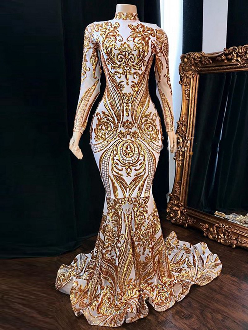 2020 Vestidos De Fiesta Prom Dresses Long Sleeve High Neck Gold Sequined White Satin Lace African Women Party Dress