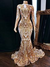 2020 vestidos de fiesta Prom Dresses Long Sleeve High Neck Gold Sequined White Satin Lace African Women Party Dress(China)