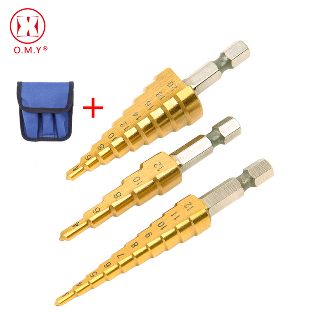3Pcs HSS Steel Titanium Step Drill Bits 3 12Mm 4 12Mm 4 20Mm step Coneเครื่องมือตัดเหล็กงานไม้เจาะโลหะไม้ชุด