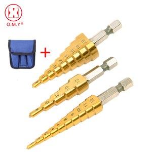Image 1 - HSS forets étagés outils de coupe, acier, titane forets étagés 3 12mm 4 12mm 4 20mm cône étagé acier travail du bois 3 pièces