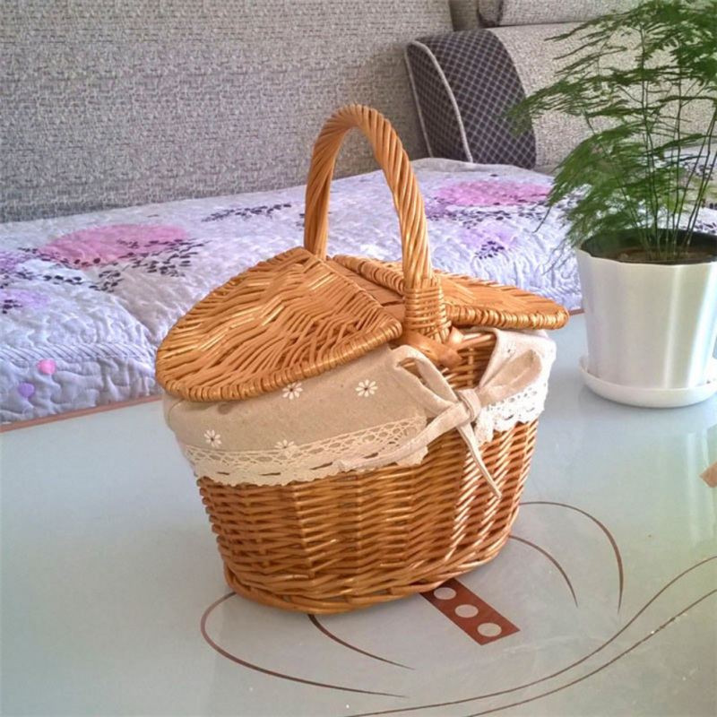 New Home Handmade Woven Rattan Basket With Handle And Double Lids Camping Picnic Food Storage Container Organizer