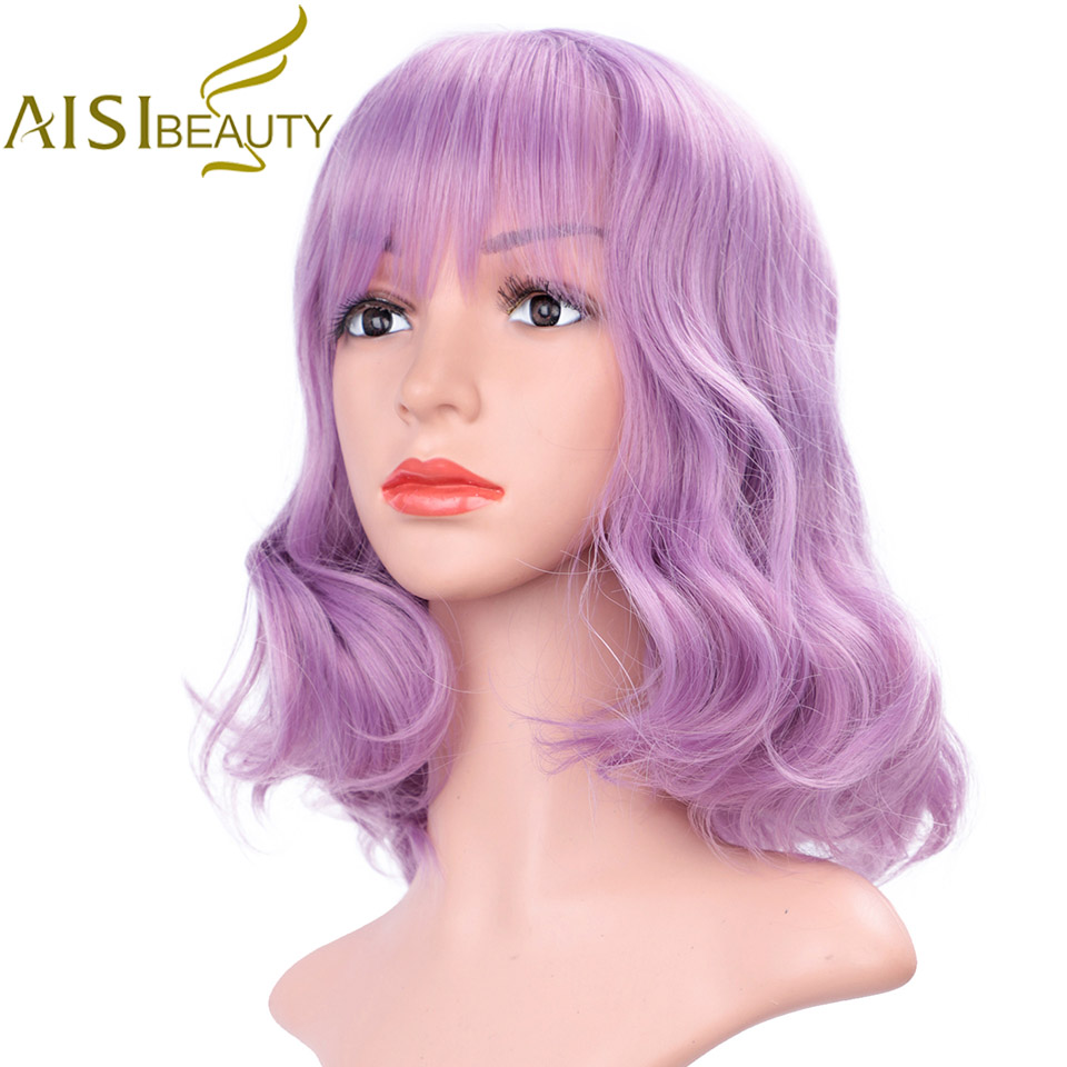 AISI BEAUTY Purple Pink Water Wave Short Synthetic Wigs For Woman False Hair With Bangs Heat Resistant  African American