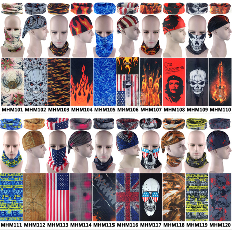 High Quality Outdoors Motorcycle Buffe Bandana Flame Scarf Multifunctional Headwear Skull Fishing Headband Women Men 500pcs