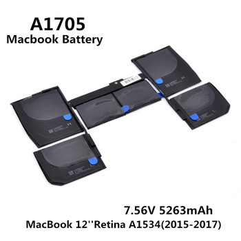 100% Original 7.56V 5263mAh Notebook Laptop A1705 Battery FOR Apple MacBook 12'' Retina A1534 (2015-2017 Year) MF855 MJY32 MK4M2 1