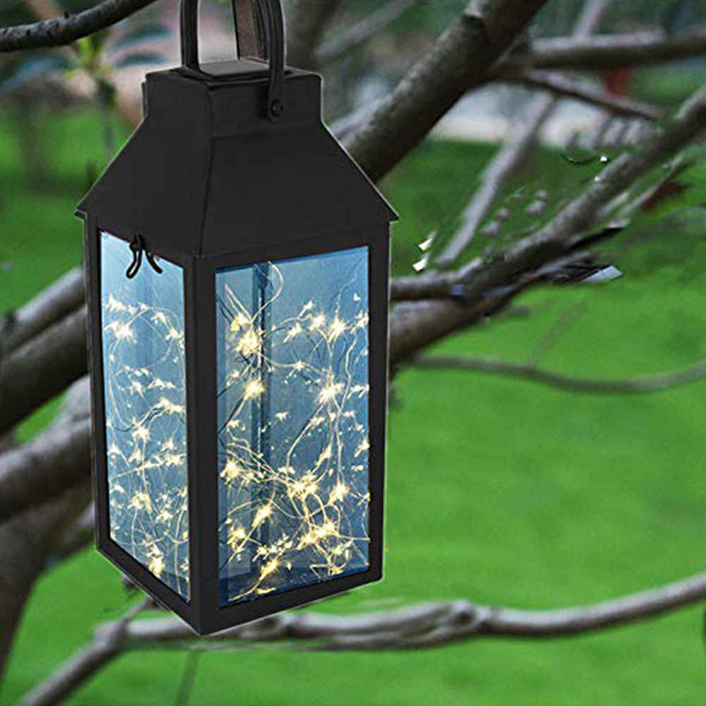 Водонепроницаемый медный провод Ночной сад подвесной высокой яркости форма фонаря украшение дома Солнечная лампа с ручкой сад