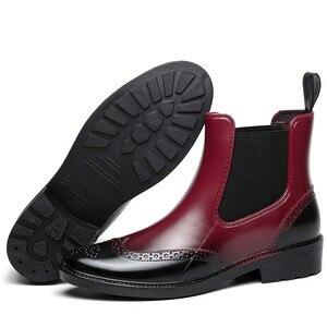 Image 4 - 秋ゴム靴女性レインブーツチェルシーブーツ防水アンクルブーツガールフラットプラットフォームブーツ春ブーツ婦人 laarzen