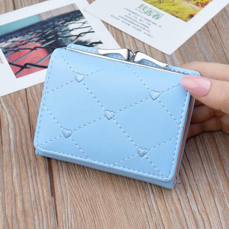 محفظة صغيرة قصيرة 2019 جديد الكورية النسخة متعددة الوظائف الصفر المحفظة المطرزة خط نطيل محفظة INS نمط مصمم محفظة