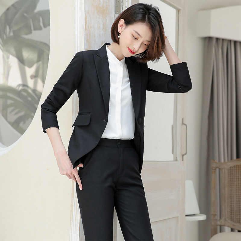 Pantalones Elegantes Para Mujer Traje De Pantalon Rosa Negro Azul Marino Chaqueta Disfraces Ropa De Oficina Conjunto De Top Y Pantalon Trajes De Pantalon Aliexpress