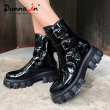 Donna-in Echtem Leder Plattform Winter Motorrad Stiefel Frauen Gothic Schuhe High Heels Buckle Zipper Fashion Punk Stiefel Schwarz(China)
