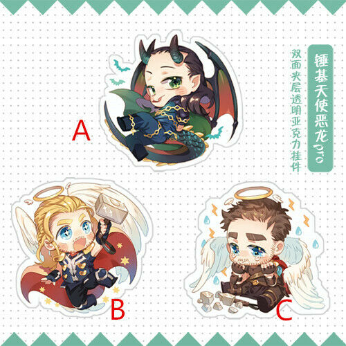 Japanese Anime Marvel's The Avengers Loki Thor Angel Devil Acrylic Keychain Keyring 2-side Bedge Brooch Pins Cute Badges