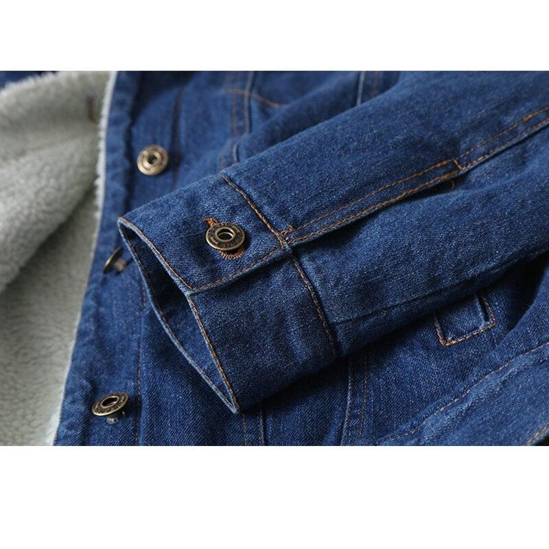 Spring Autumn Winter New 2019 Women lambswool jean Coat With 4 Pockets Long Sleeves Warm Jeans Coat Outwear Wide Denim Jacket - 5