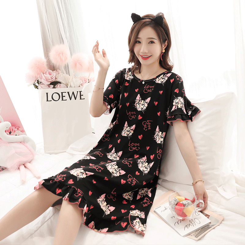 Nightgown Women's Summer Short-sleeved Korean-style Students Cartoon Heart Cat Pajamas Sweet Cute Spring And Autumn Days Thin Ho
