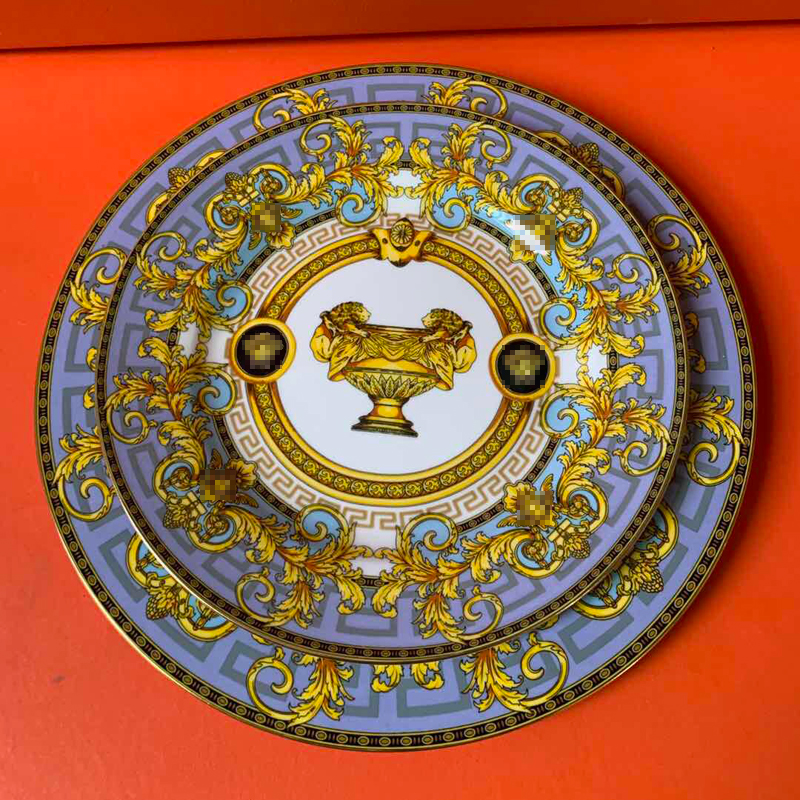 Assiettes à vaisselle en porcelaine d'os de luxe assiettes de service en porcelaine fine pour le dîner accessoires de cuisine décor à la maison européen cadeau de plat de mariage