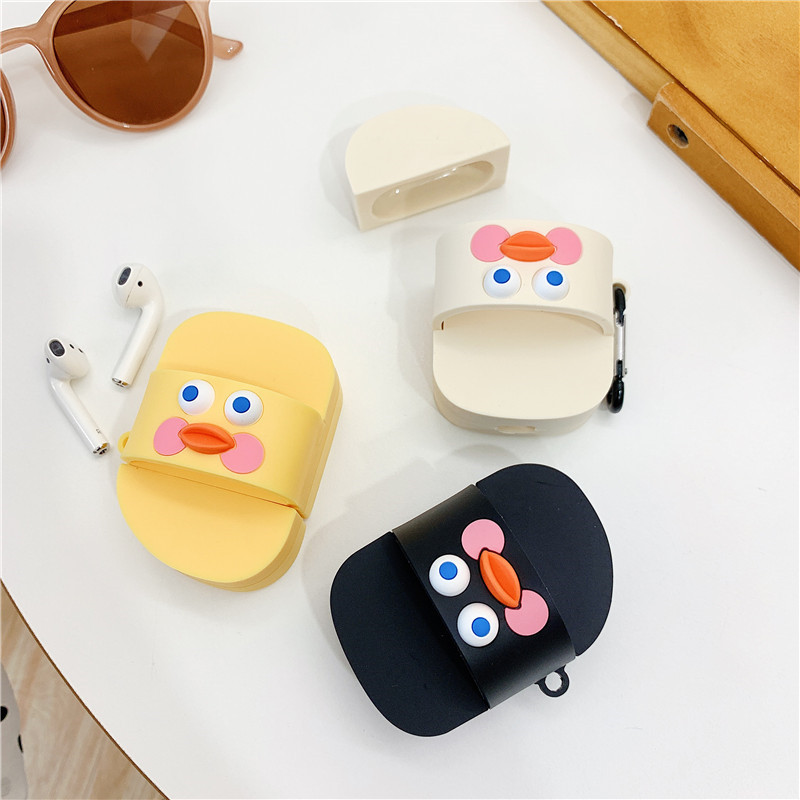 For AirPod 2 Case 3D Slipper Chick Cartoon Soft Silicone Wireless Earphone Cases For Apple Airpods Case Cute Cover Funda in Earphone Accessories from Consumer Electronics