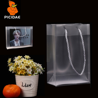 PP Frosted Transparent Reticule Hand Hard Bag Plastic Packing Box ECO Custom High Grade Shopping Clothing Store Gift Cosmetic Ad
