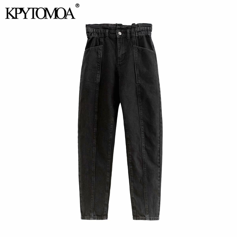 Vintage Chic Pockets High Waisted Jeans Women 2020 Fashion Zipper Fly Paperbag Elastic Waist Female Denim Pants Pantalones Mujer
