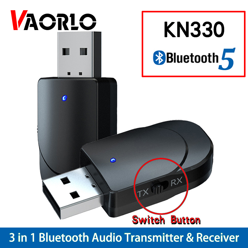 KN330 USB Bluetooth 5.0 Transmitter Receiver BT 3.5 Mm AUX Jack 3 IN 1 Stereo Audio Music Wireless Bluetooth Adapter For TV Car