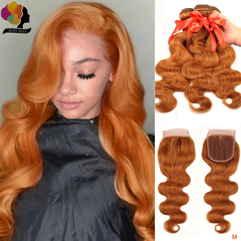 Remyblue Ginger Blonde Body Wave 100% Human Hair Bundles With Closure Brazilian Orange Hair Weave Bundles With Closure Remy Hair
