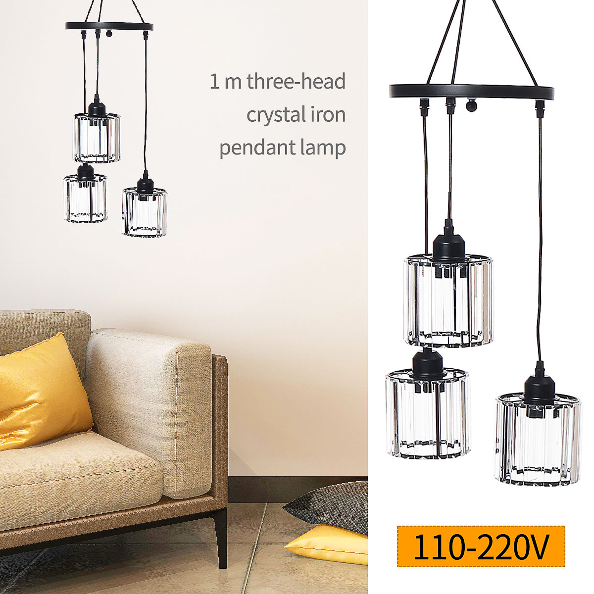 E26 E27 Modern Pendant Light 3 Head Iron Crystal Lamp Hallway Bedroom Home Bar Fixture Decoration Indoor Lighting 110-220V