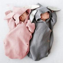 LZH 2021 Autumn New Baby Knitting Bunny Sleeping Bag Newborn Rabbit Ears Side Button Sleeping Bag Children Envelope Sleeping Bag