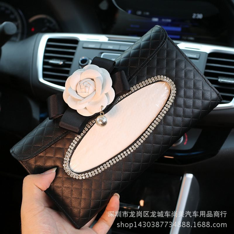 Car Tissue Box Mounted Camellia Car Tissue Box Car Mounted Car Hanging Car Paper Extraction Box Top Grade